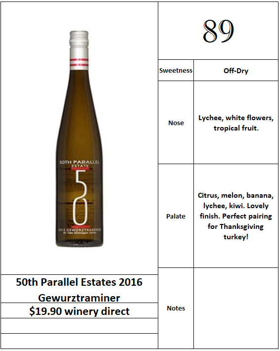 50th Parallel Estates 2016 Gewurztraminer