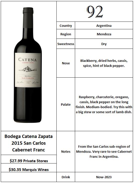 Bodega Catena Zapata 2015 San Carlos Cabernet Franc