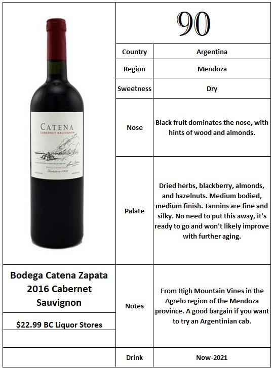 Bodega Catena Zapata 2016 Cabernet Sauvignon.PNG