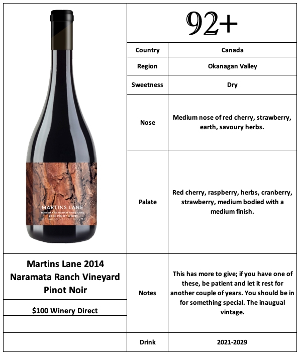 Martins Lane 2014 Naramata Ranch Vineyard Pinot Noir
