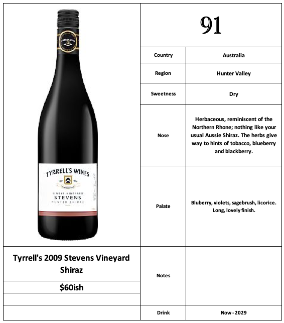 Tyrrell's 2009 Stevens Vineyard Shiraz