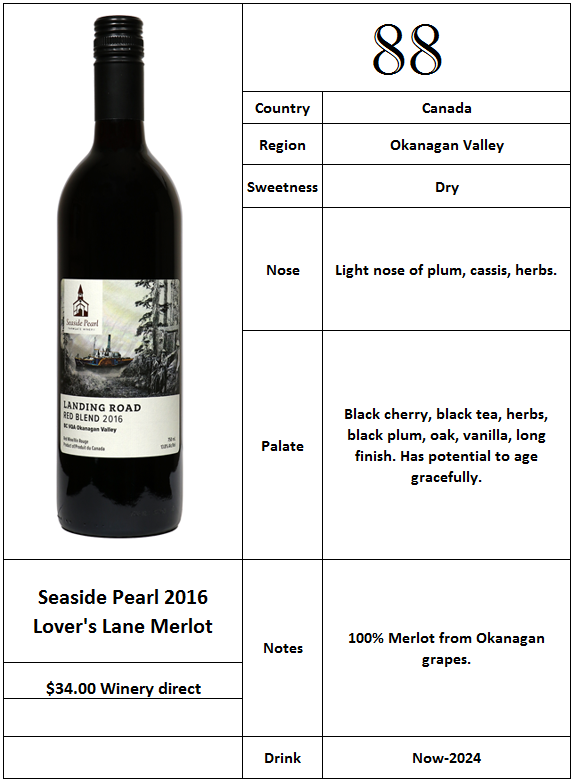 Seaside Pearl 2016 Lovers Lane Merlot