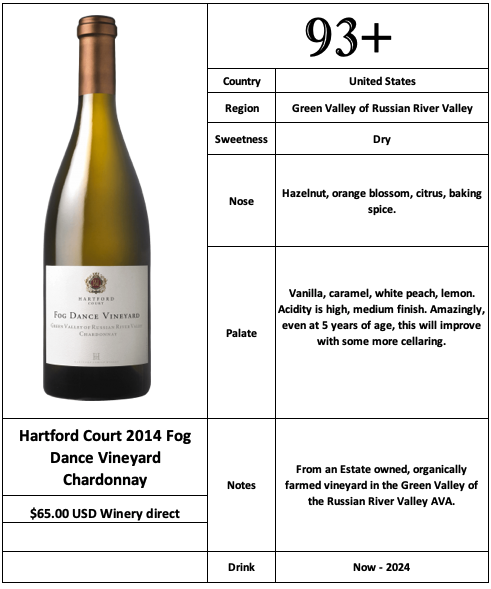 Hartford Court 2014 Fog Dance Vineyard Chardonnay