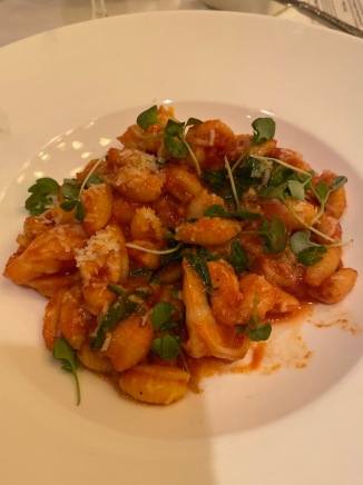 Florida Gulf Shrimp with house-made Gnocchi Sardi Pasta, Spicy Puttanesca Sauce, Baby Spinach