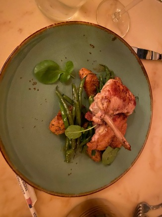 Poulet Rouge Chicken, green beans in butter, savory bread pudding
