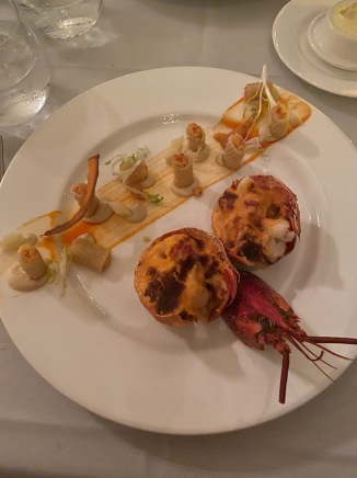 Lobster Thermador with stuffed pasta