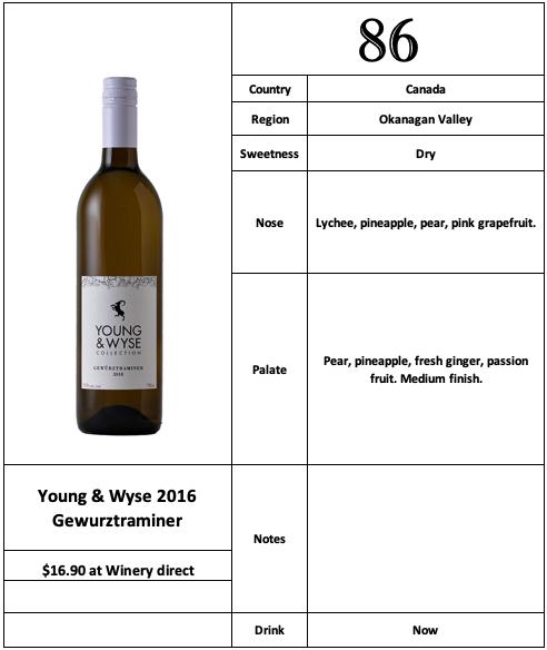 Young & Wyse 2016 Gewurztraminer