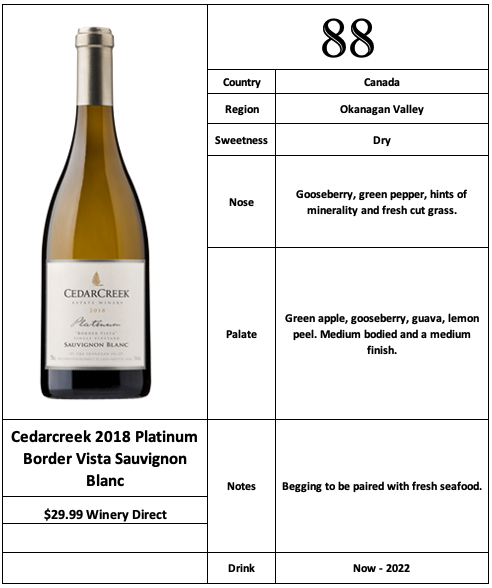 Cedarcreek 2018 Platinum Border Vista Sauvignon Blanc