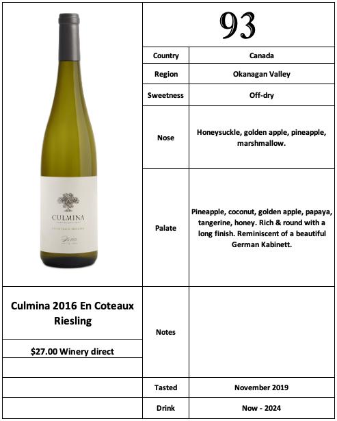 Culmina 2016 En Coteaux Riesling
