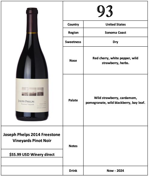 Joseph Phelps 2014 Freestone Vineyards Pinot Noir