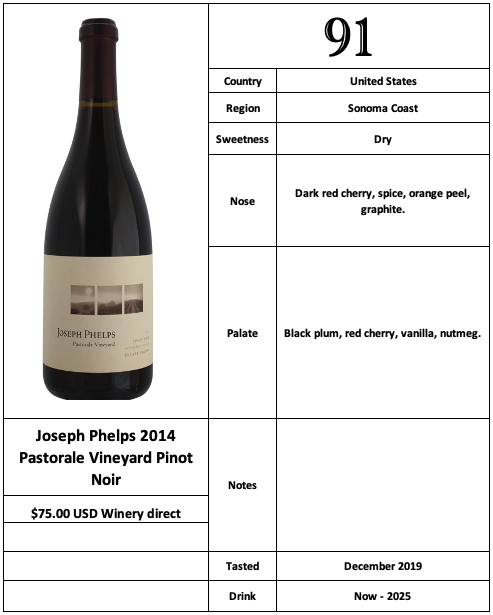 Joseph Phelps 2014 Pastorale Vineyard Pinot Noir