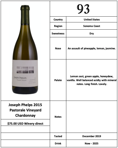 Joseph Phelps 2015 Pastorale Vineyard Chardonnay