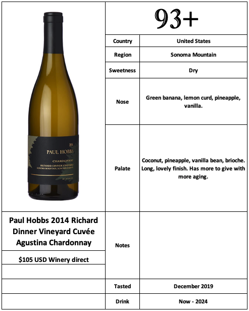 Paul Hobbs 2014 Richard Dinner Vineyard Cuvée Agustina Chardonnay