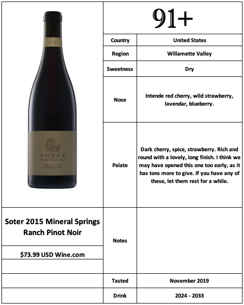 Soter 2015 Mineral Springs Ranch Pinot Noir