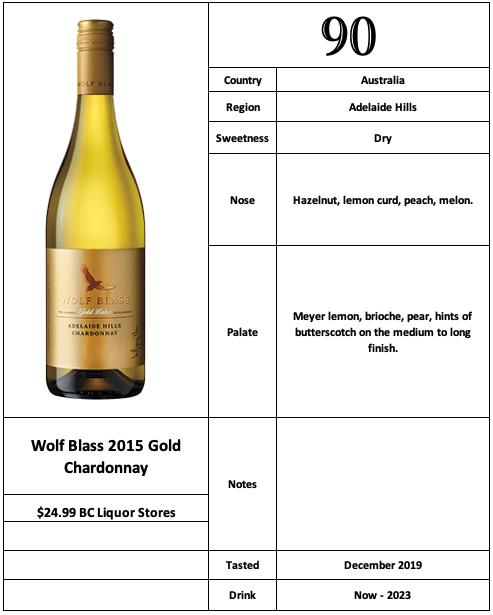Wolf Blass 2015 Gold Chardonnay