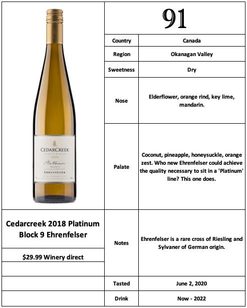 Cedarcreek 2018 Platinum Block 9 Ehrenfelser
