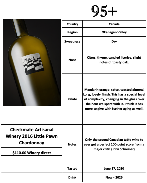 Checkmate Artisanal Winery 2016 Little Pawn Chardonnay