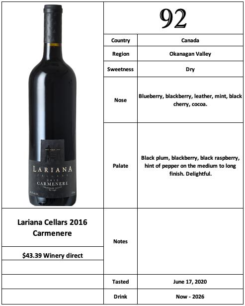 Lariana Cellars 2016 Carmenere