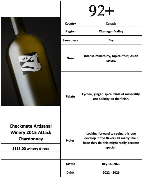 Checkmate 2015 Attack Chardonnay