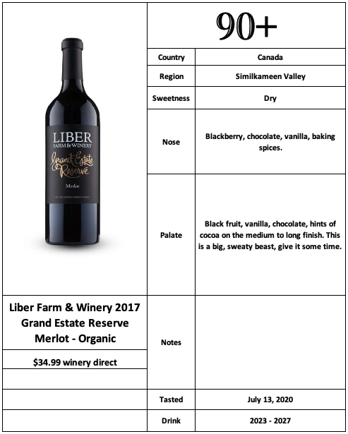 Liber Farm & Winery 2017 Grand Estate Reserve Merlot