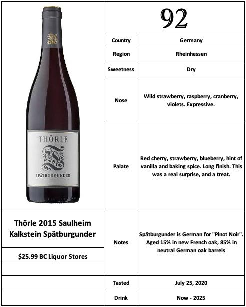 Thorle 2015 Saulheim Kalkstein Spätburgunder
