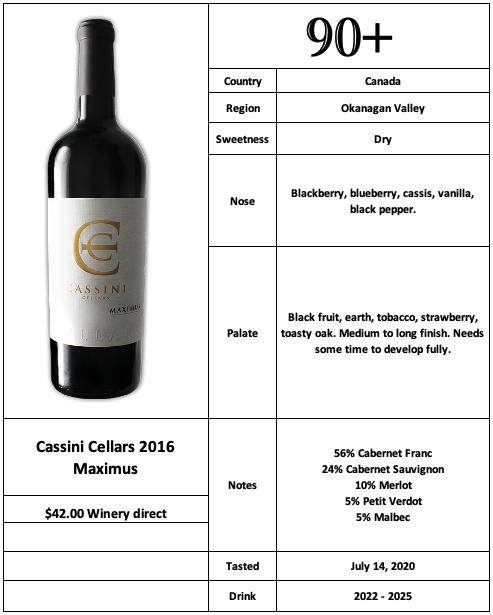 Cassini Cellars 2016 Maximus