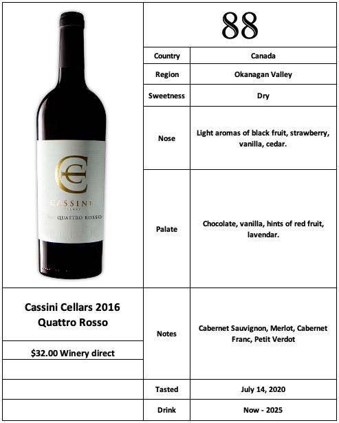 Cassini Cellars 2016 Quattro Rosso