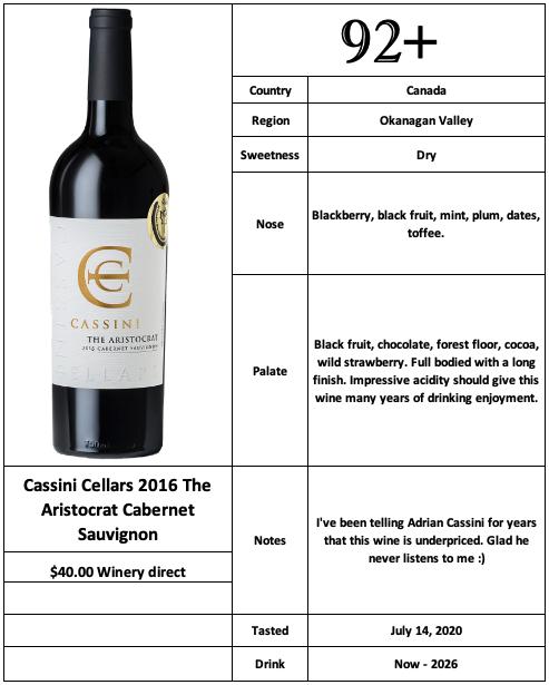 Cassini Cellars 2016 The Aristocrat