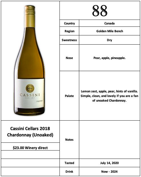 Cassini Cellars 2018 Chardonnay