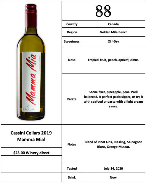 Cassini Cellars 2019 Mamma Mia!