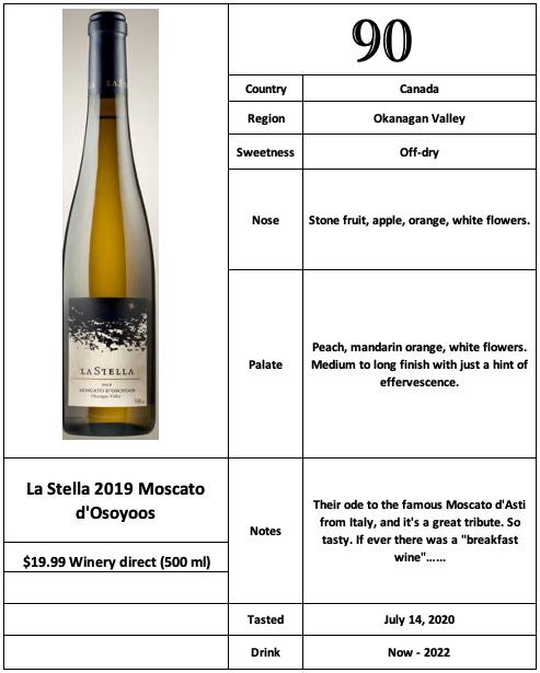 La Stella 2019 Moscato d'Osoyoos