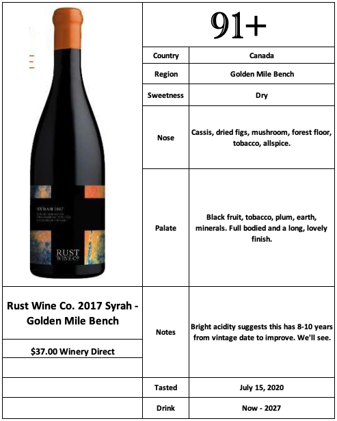 Rust Wine Co 2017 Golden Mile Bench Syrah