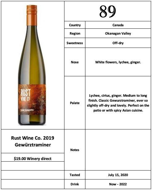 Rust Wine Co 2019 Gewürztraminer